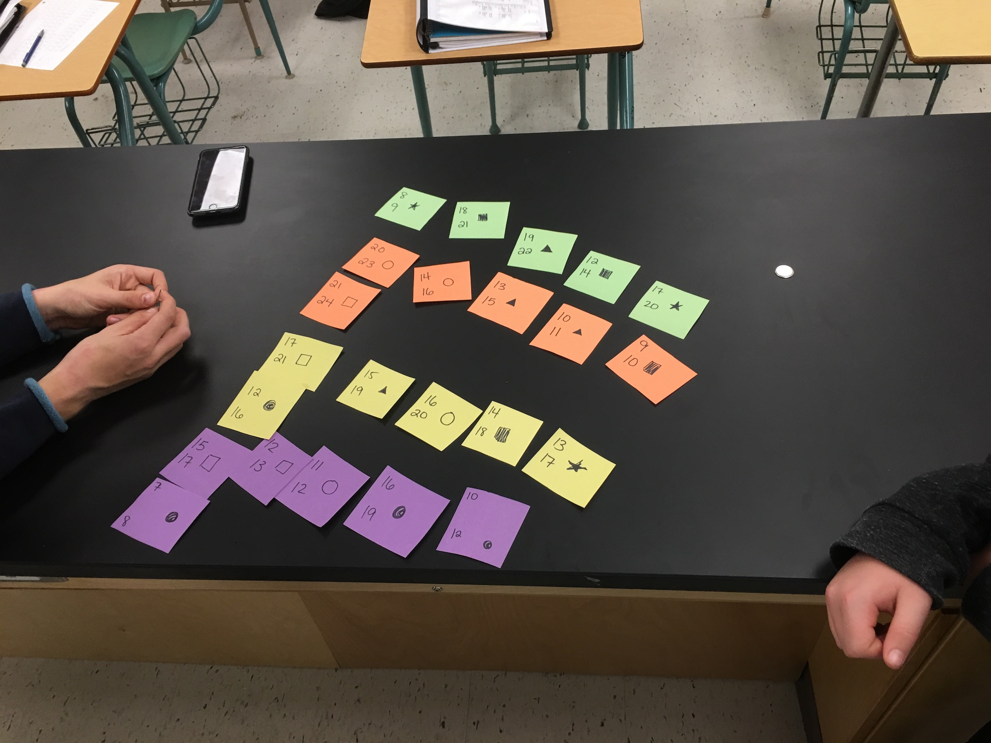 Picture depicting students have the cards laid out, grouped by colour.
